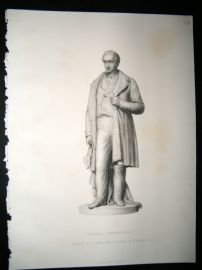 Statues/Sculpture 1858 Steel Engraving. George Stephenson, Antique Print